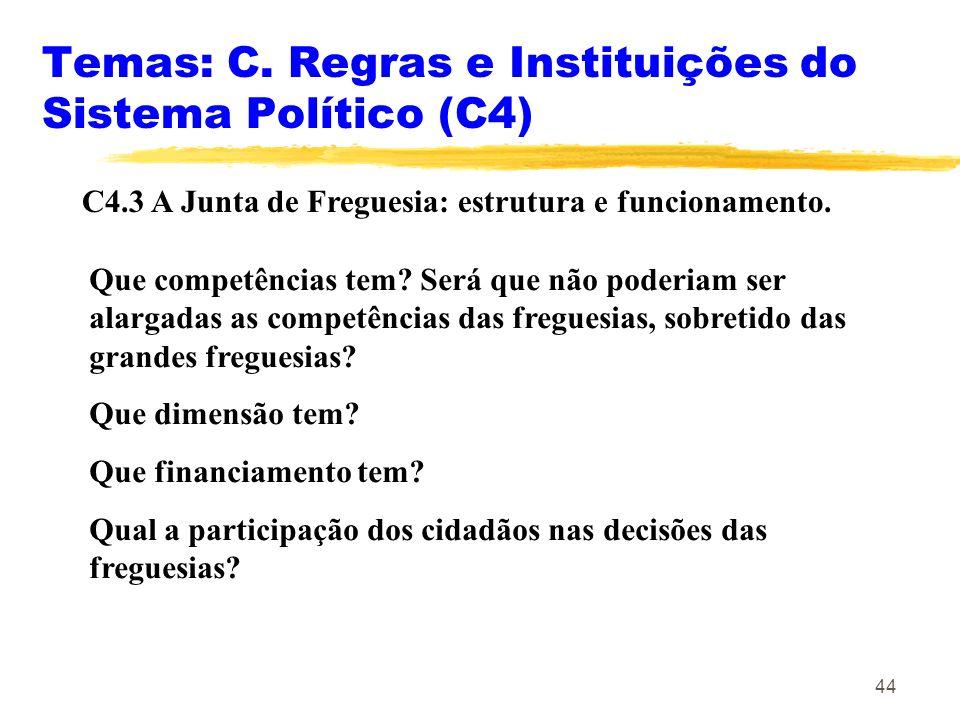 44 Temas: C. Regras e Instituições do Sistema Político (C4) C4.3 A Junta de Freguesia: estrutura e funcionamento. Que competências tem? Será que não p