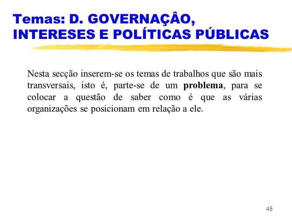 45 Temas: D. GOVERNAÇÂO, INTERESES E POLÍTICAS PÚBLICAS Nesta secção inserem-se os temas de trabalhos que são mais transversais, isto é, parte-se de u