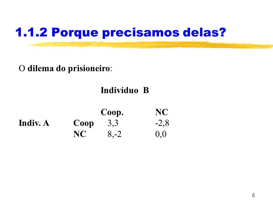 6 1.1.2 Porque precisamos delas? O dilema do prisioneiro: Indivíduo B Coop.NC Indiv. A Coop 3,3-2,8 NC 8,-20,0