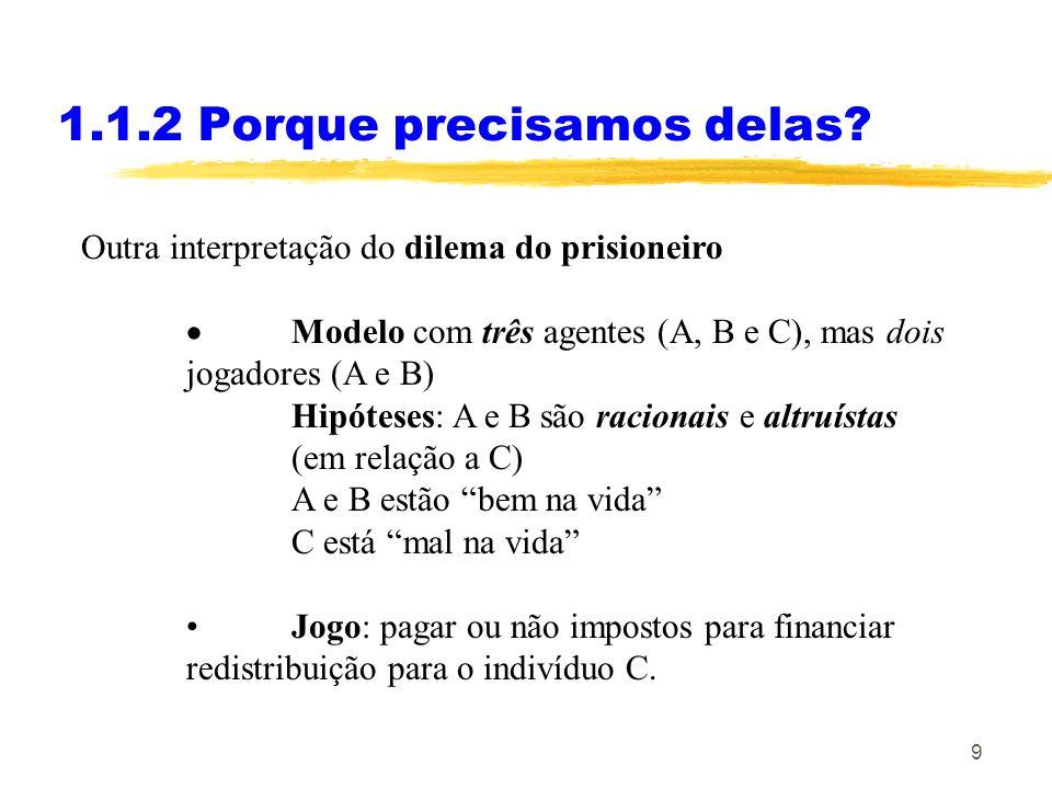 9 Outra interpretação do dilema do prisioneiro Modelo com três agentes (A, B e C), mas dois jogadores (A e B) Hipóteses: A e B são racionais e altruís