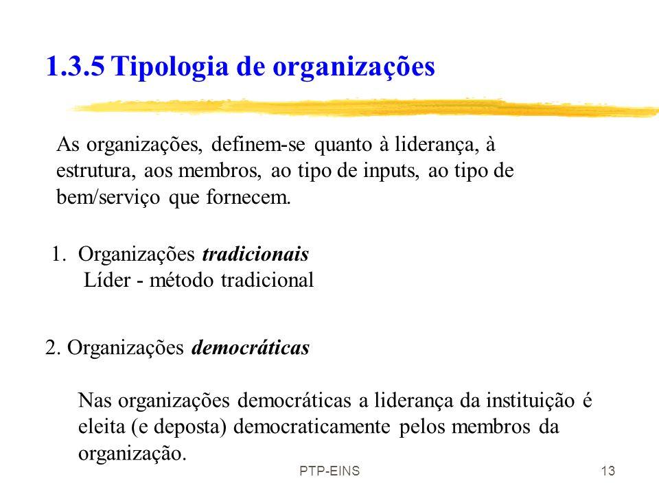 PTP-EINS12 Existem organizações similares (voluntárias, empresas ou públicas) que desempenhem uma função semelhante? 1.3.4. O ambiente institucional.