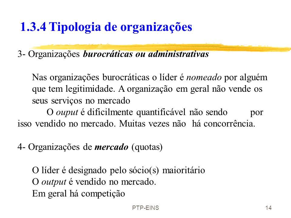 PTP-EINS13 As organizações, definem-se quanto à liderança, à estrutura, aos membros, ao tipo de inputs, ao tipo de bem/serviço que fornecem. 1.3.5 Tip