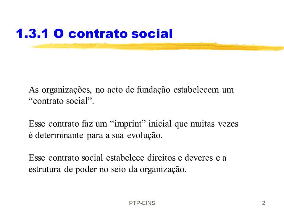 PTP-EINS1 1.3 Tipos de organizações 1.3.1 O contrato social: a estrutura da organização 1.3.2A escolha da liderança e os membros 1.3.4Qual a função de