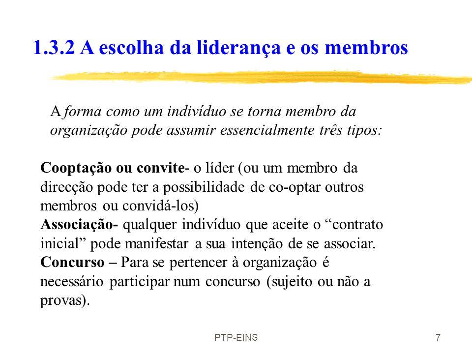 PTP-EINS7 A forma como um indivíduo se torna membro da organização pode assumir essencialmente três tipos: Cooptação ou convite- o líder (ou um membro da direcção pode ter a possibilidade de co-optar outros membros ou convidá-los) Associação- qualquer indivíduo que aceite o contrato inicial pode manifestar a sua intenção de se associar.