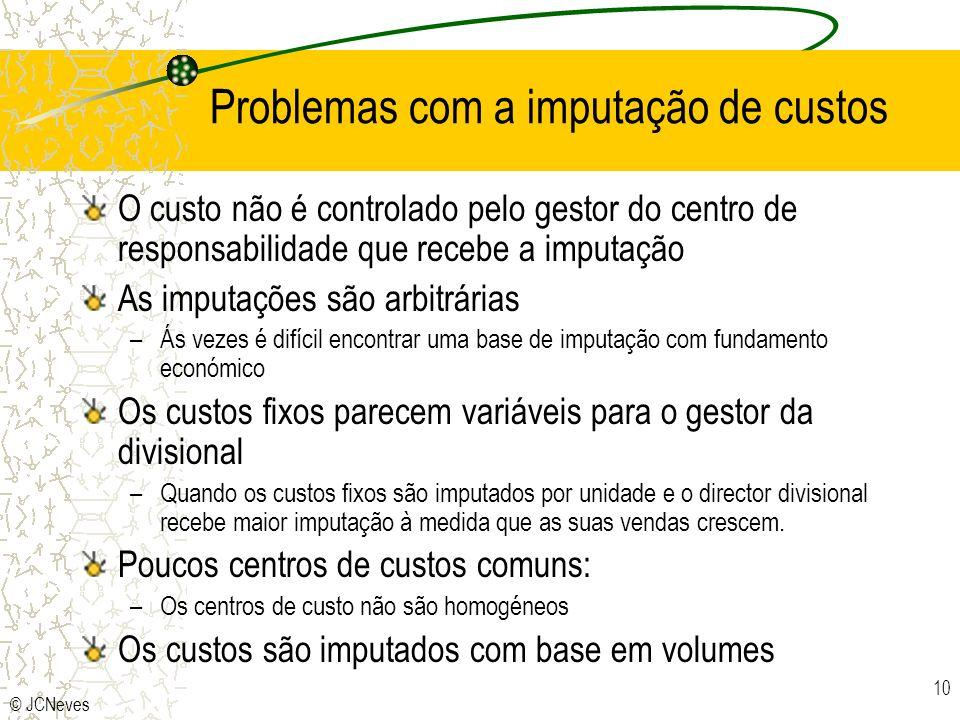 © JCNeves 10 Problemas com a imputação de custos O custo não é controlado pelo gestor do centro de responsabilidade que recebe a imputação As imputaçõ