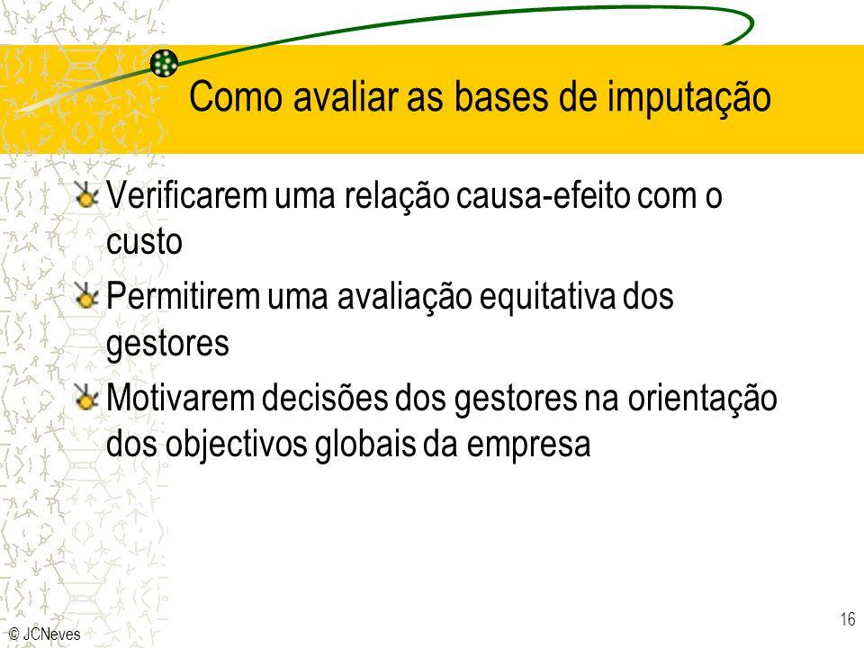 © JCNeves 16 Como avaliar as bases de imputação Verificarem uma relação causa-efeito com o custo Permitirem uma avaliação equitativa dos gestores Moti