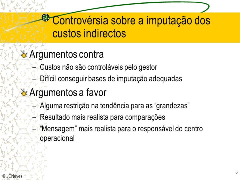 © JCNeves 8 Controvérsia sobre a imputação dos custos indirectos Argumentos contra –Custos não são controláveis pelo gestor –Difícil conseguir bases d