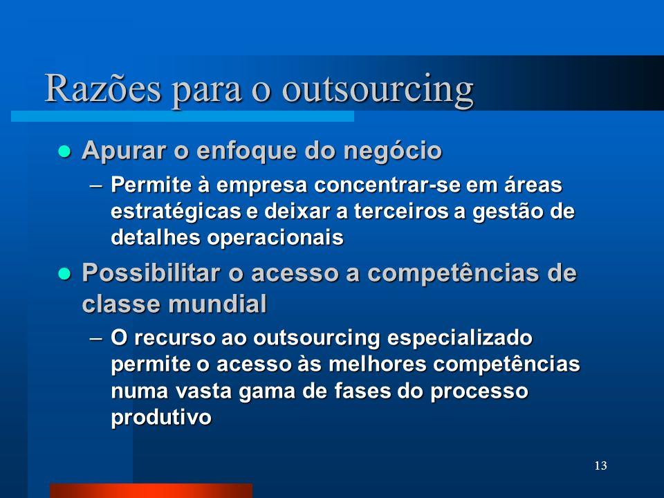 13 Razões para o outsourcing Apurar o enfoque do negócio Apurar o enfoque do negócio –Permite à empresa concentrar-se em áreas estratégicas e deixar a