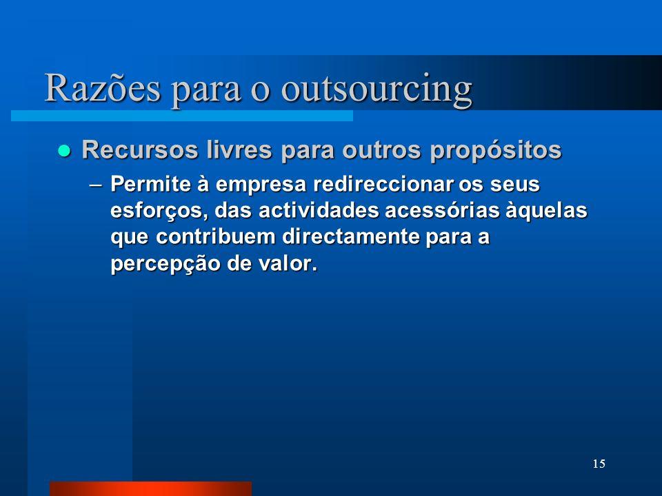 15 Razões para o outsourcing Recursos livres para outros propósitos Recursos livres para outros propósitos –Permite à empresa redireccionar os seus es