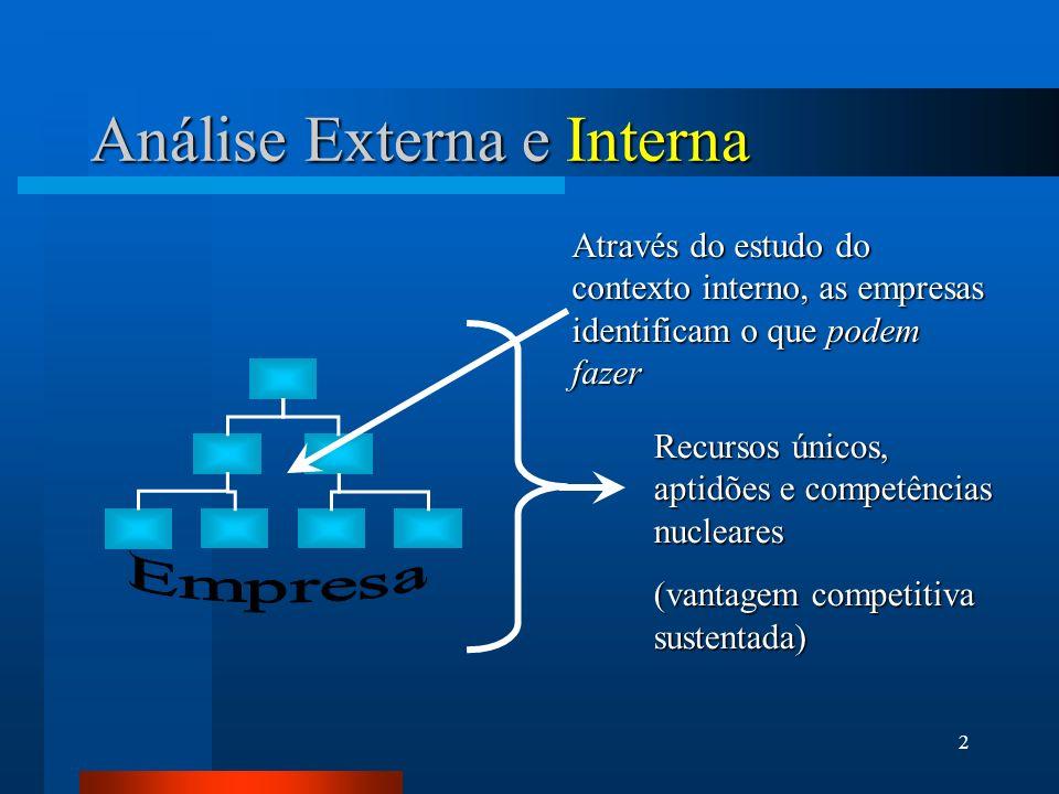 2 Análise Externa e Interna Através do estudo do contexto interno, as empresas identificam o que podem fazer Recursos únicos, aptidões e competências