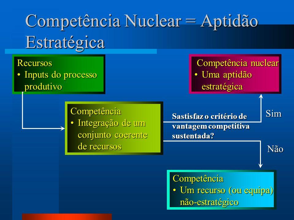 9 Competência Nuclear = Aptidão Estratégica Recursos Inputs do processoInputs do processoprodutivo Competência Um recurso (ou equipa)Um recurso (ou eq