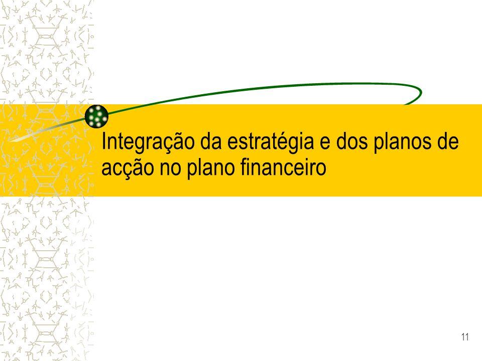 11 Integração da estratégia e dos planos de acção no plano financeiro