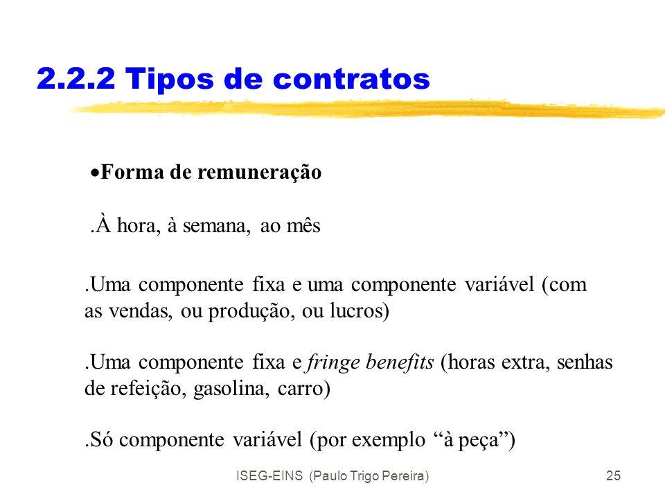 ISEG-EINS (Paulo Trigo Pereira)24 2.2.2Tipos de contratos Prazo do contrato: Mensal 3 meses, 6 meses, 1 ano, 3anos, 5anos. Vitalício