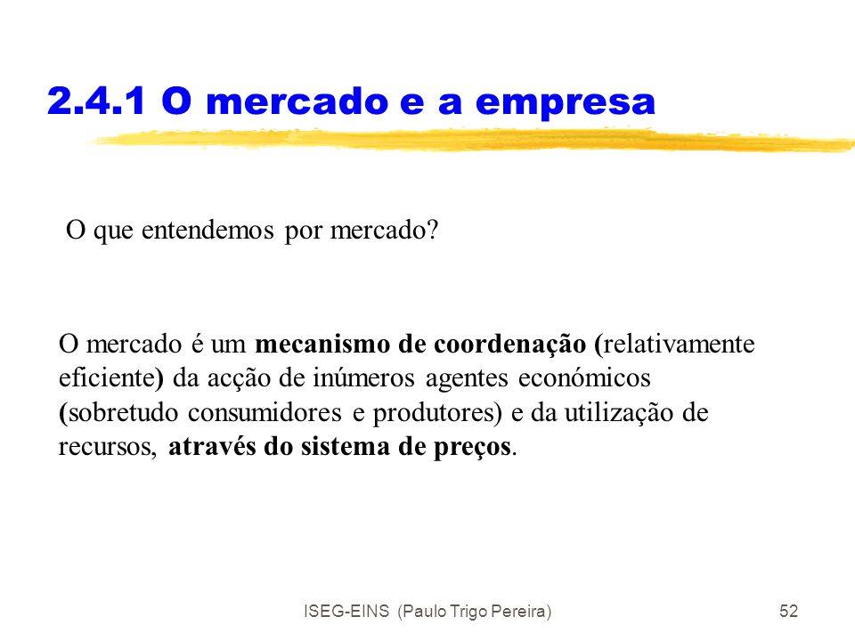 ISEG-EINS (Paulo Trigo Pereira)51 Porque existe uma variedade de organizações? Objectivo da aula: Perceber os limites variáveis entre o papel do merca