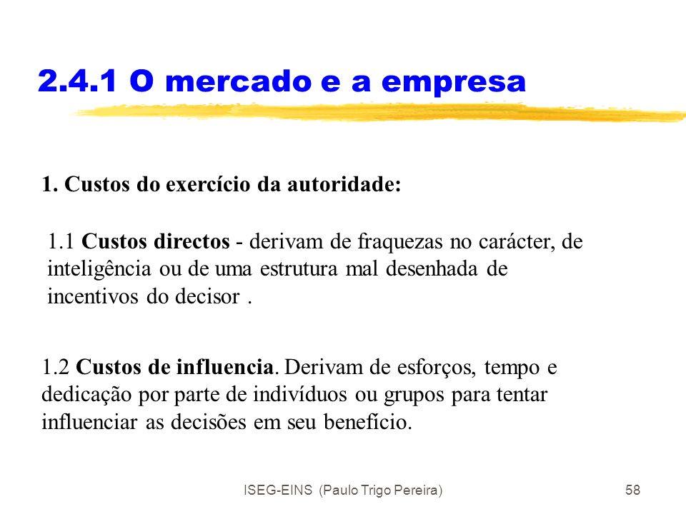 ISEG-EINS (Paulo Trigo Pereira)57 2.4.1 O mercado e a empresa Custos (comparativos) da actividade de entrepreneur (e não se usar o mecanismo de preços
