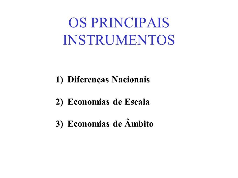 OS PRINCIPAIS INSTRUMENTOS 1)Diferenças Nacionais 2)Economias de Escala 3)Economias de Âmbito