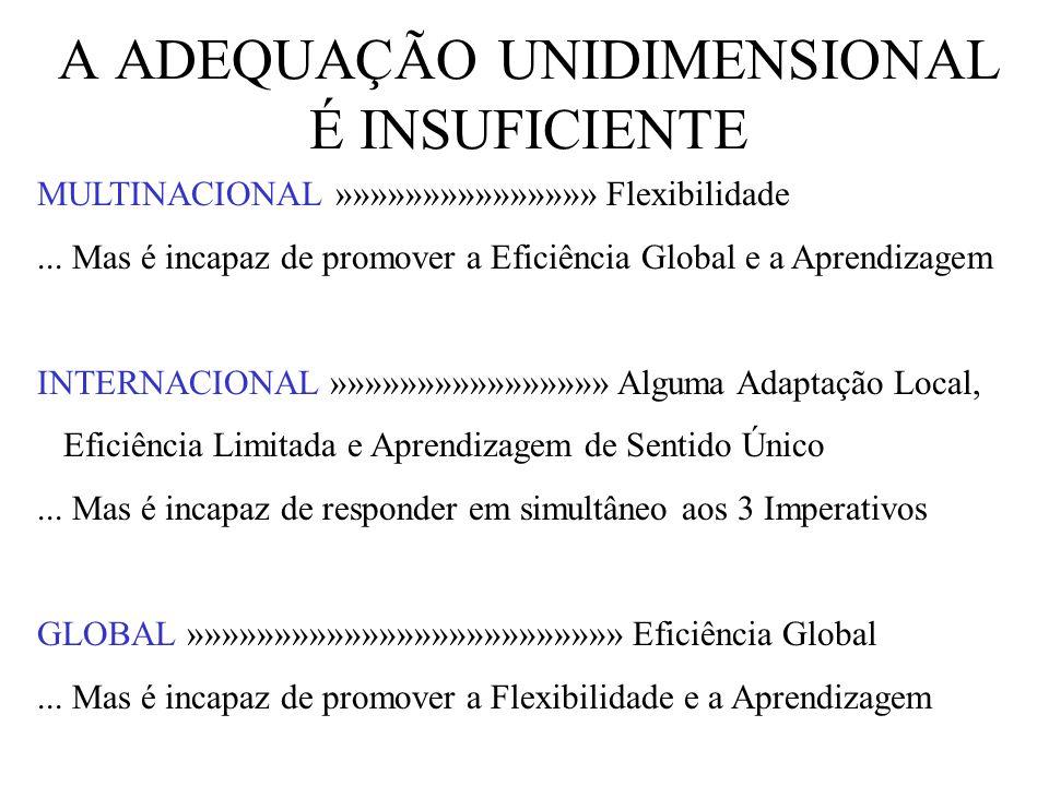 A ADEQUAÇÃO UNIDIMENSIONAL É INSUFICIENTE MULTINACIONAL »»»»»»»»»»»»»»» Flexibilidade... Mas é incapaz de promover a Eficiência Global e a Aprendizage