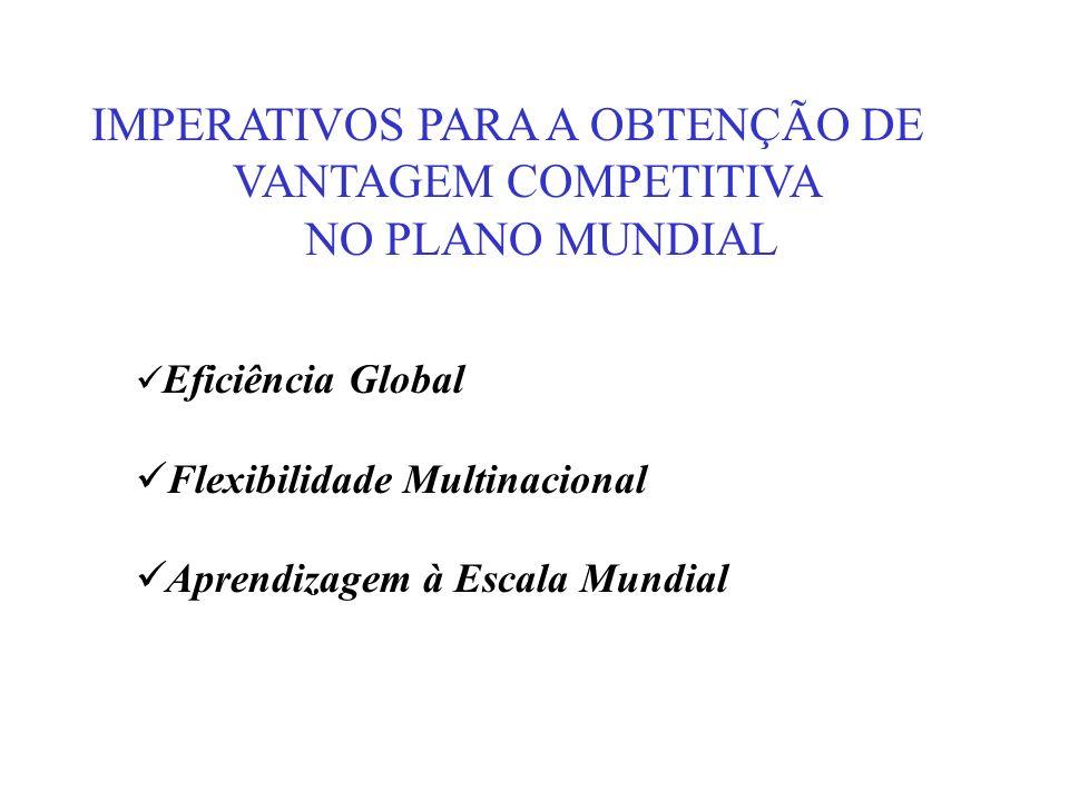 IMPERATIVOS PARA A OBTENÇÃO DE VANTAGEM COMPETITIVA NO PLANO MUNDIAL Eficiência Global Flexibilidade Multinacional Aprendizagem à Escala Mundial
