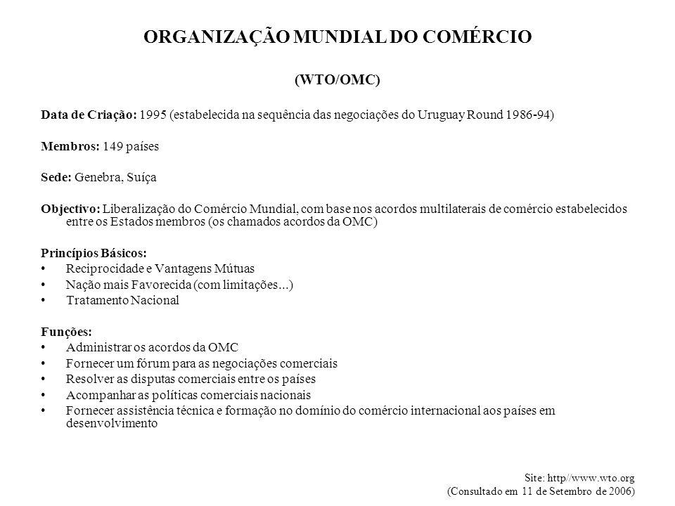 ORGANIZAÇÃO MUNDIAL DO COMÉRCIO (WTO/OMC) Data de Criação: 1995 (estabelecida na sequência das negociações do Uruguay Round 1986-94) Membros: 149 países Sede: Genebra, Suíça Objectivo: Liberalização do Comércio Mundial, com base nos acordos multilaterais de comércio estabelecidos entre os Estados membros (os chamados acordos da OMC) Princípios Básicos: Reciprocidade e Vantagens Mútuas Nação mais Favorecida (com limitações...) Tratamento Nacional Funções: Administrar os acordos da OMC Fornecer um fórum para as negociações comerciais Resolver as disputas comerciais entre os países Acompanhar as políticas comerciais nacionais Fornecer assistência técnica e formação no domínio do comércio internacional aos países em desenvolvimento Site: http//www.wto.org (Consultado em 11 de Setembro de 2006)