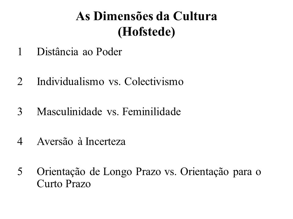 As Dimensões da Cultura (Hofstede) 1Distância ao Poder 2Individualismo vs.