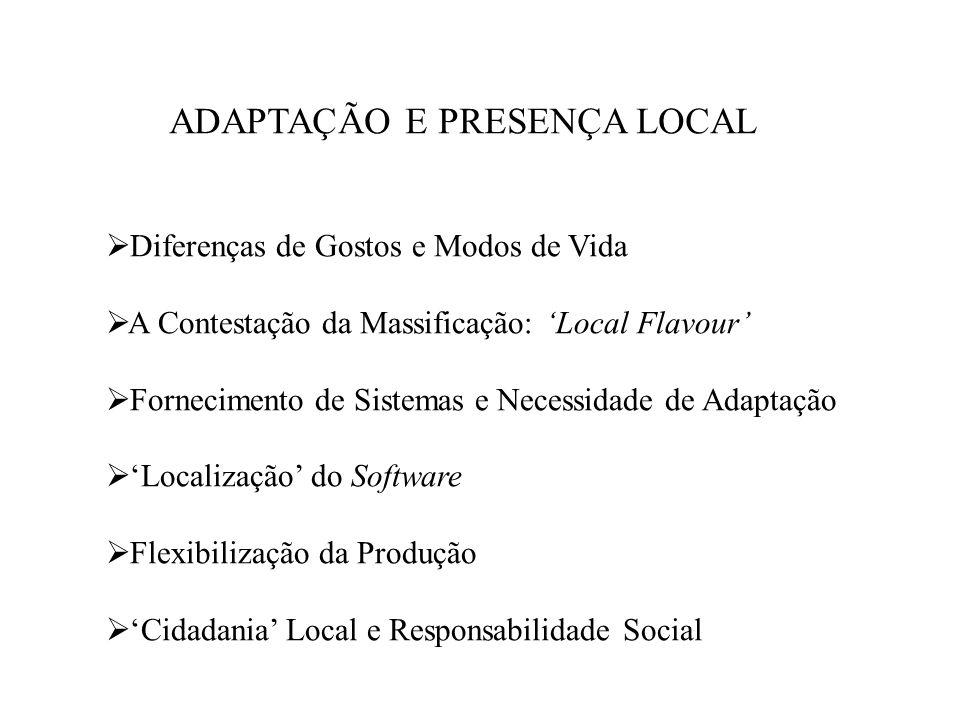 ADAPTAÇÃO E PRESENÇA LOCAL Diferenças de Gostos e Modos de Vida A Contestação da Massificação: Local Flavour Fornecimento de Sistemas e Necessidade de Adaptação Localização do Software Flexibilização da Produção Cidadania Local e Responsabilidade Social