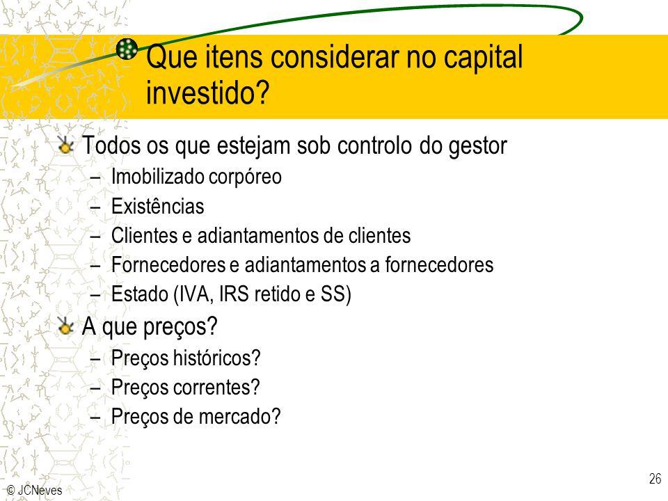 © JCNeves 26 Que itens considerar no capital investido? Todos os que estejam sob controlo do gestor –Imobilizado corpóreo –Existências –Clientes e adi