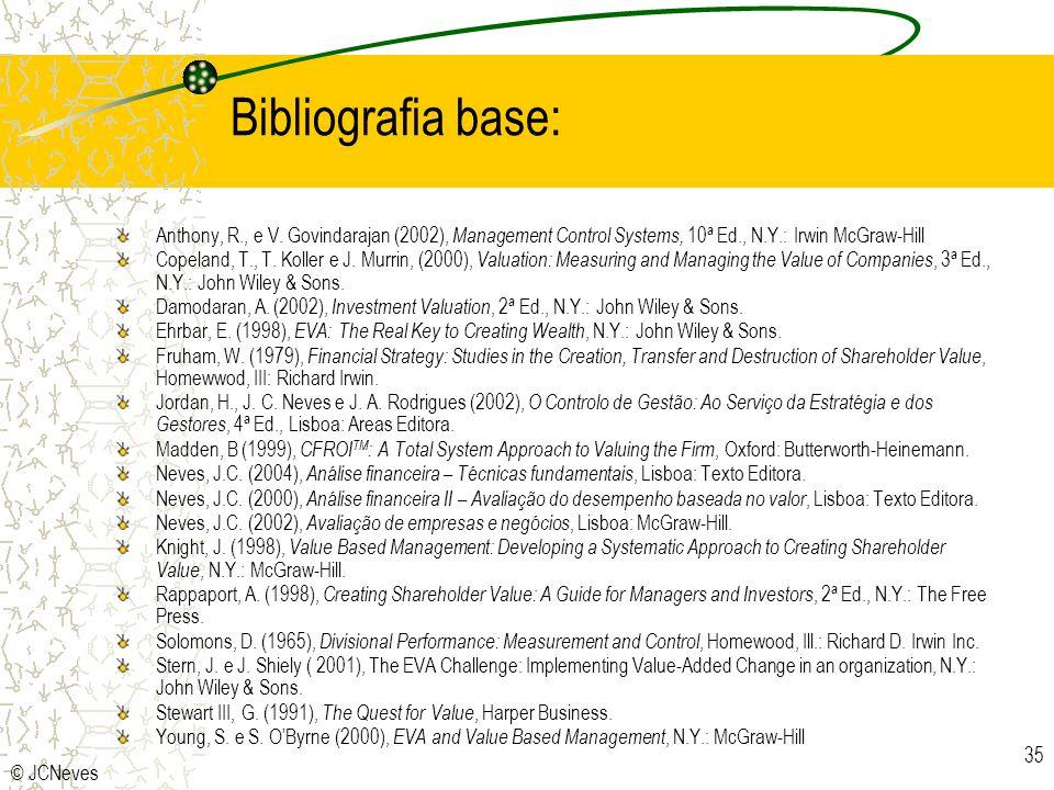 © JCNeves 35 Bibliografia base: Anthony, R., e V. Govindarajan (2002), Management Control Systems, 10ª Ed., N.Y.: Irwin McGraw-Hill Copeland, T., T. K