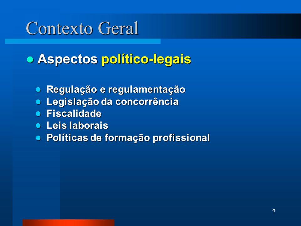 7 Contexto Geral Aspectos político-legais Aspectos político-legais Regulação e regulamentação Regulação e regulamentação Legislação da concorrência Le