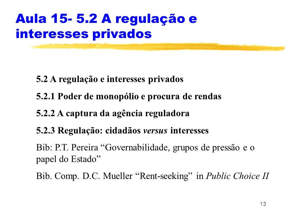 13 Aula 15- 5.2 A regulação e interesses privados 5.2 A regulação e interesses privados 5.2.1 Poder de monopólio e procura de rendas 5.2.2 A captura d
