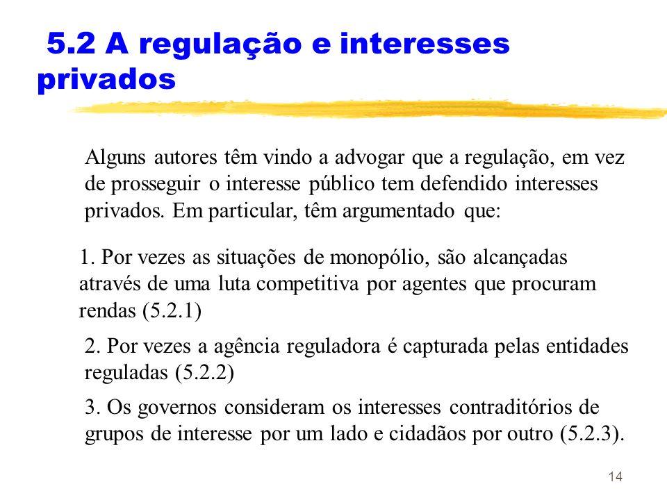 14 5.2 A regulação e interesses privados Alguns autores têm vindo a advogar que a regulação, em vez de prosseguir o interesse público tem defendido in