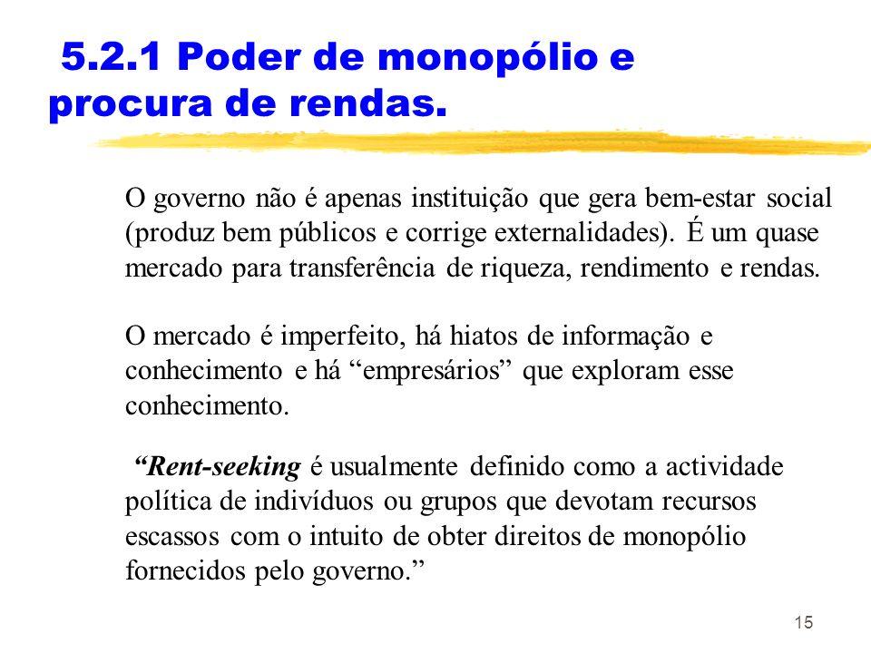 15 5.2.1 Poder de monopólio e procura de rendas. O governo não é apenas instituição que gera bem-estar social (produz bem públicos e corrige externali