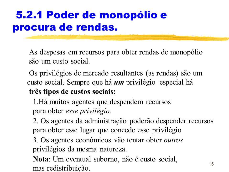16 5.2.1 Poder de monopólio e procura de rendas. As despesas em recursos para obter rendas de monopólio são um custo social. Os privilégios de mercado