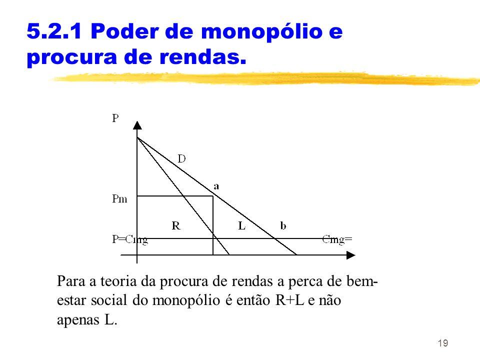 19 5.2.1 Poder de monopólio e procura de rendas. Para a teoria da procura de rendas a perca de bem- estar social do monopólio é então R+L e não apenas
