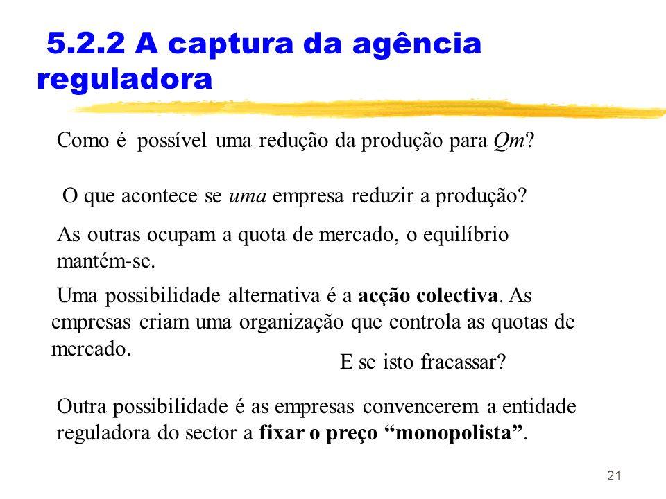 21 5.2.2 A captura da agência reguladora Como é possível uma redução da produção para Qm? As outras ocupam a quota de mercado, o equilíbrio mantém-se.