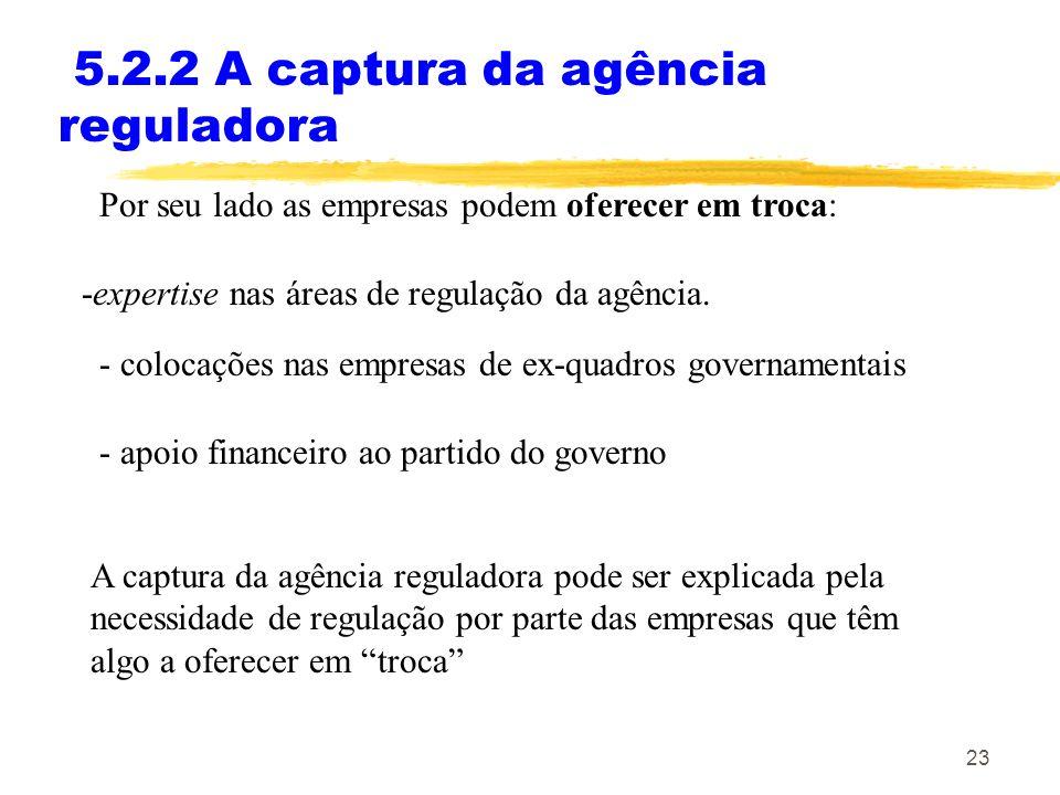 23 5.2.2 A captura da agência reguladora Por seu lado as empresas podem oferecer em troca: -expertise nas áreas de regulação da agência. - colocações