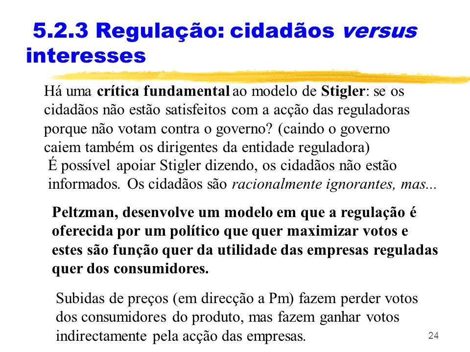 24 5.2.3 Regulação: cidadãos versus interesses Há uma crítica fundamental ao modelo de Stigler: se os cidadãos não estão satisfeitos com a acção das r