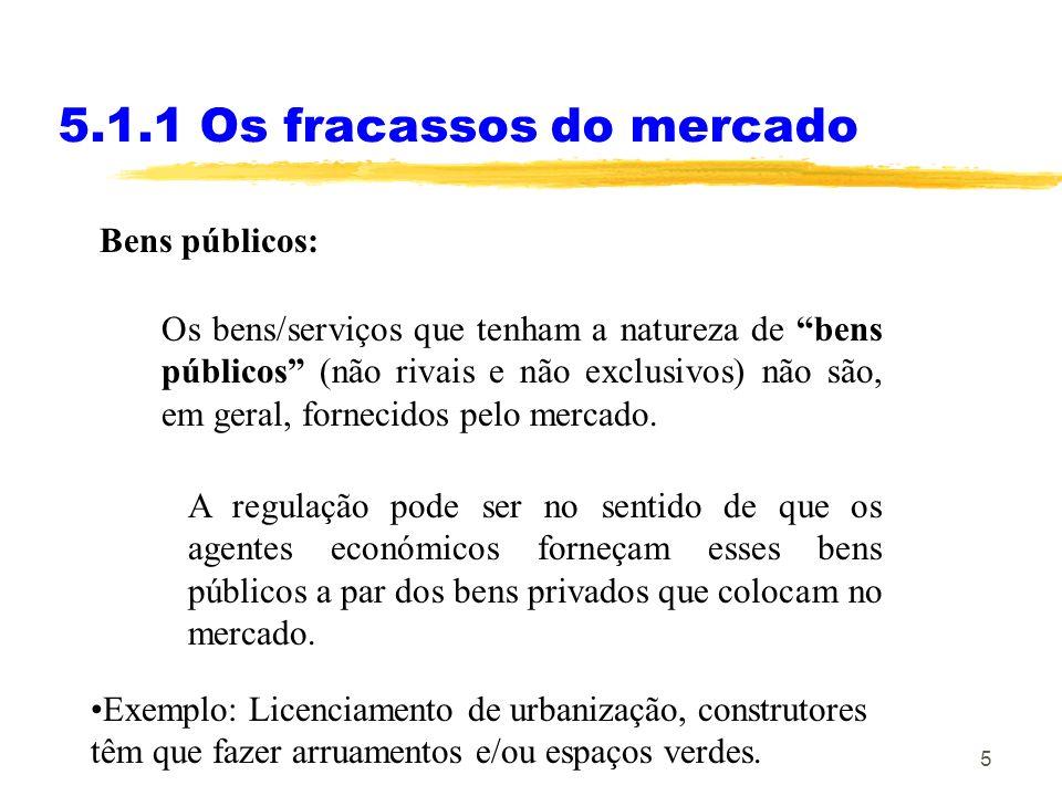 5 Bens públicos: 5.1.1 Os fracassos do mercado Os bens/serviços que tenham a natureza de bens públicos (não rivais e não exclusivos) não são, em geral