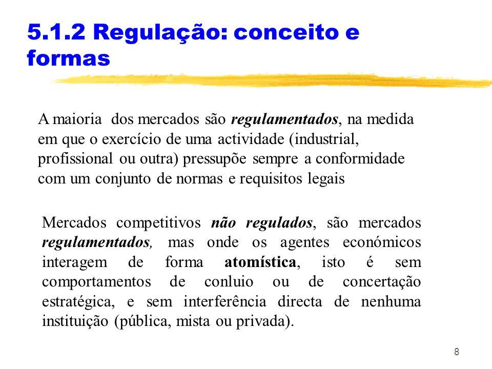 8 5.1.2 Regulação: conceito e formas A maioria dos mercados são regulamentados, na medida em que o exercício de uma actividade (industrial, profission