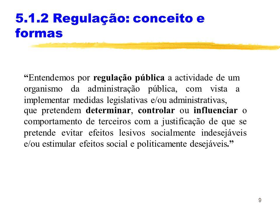 9 5.1.2 Regulação: conceito e formas Entendemos por regulação pública a actividade de um organismo da administração pública, com vista a implementar m