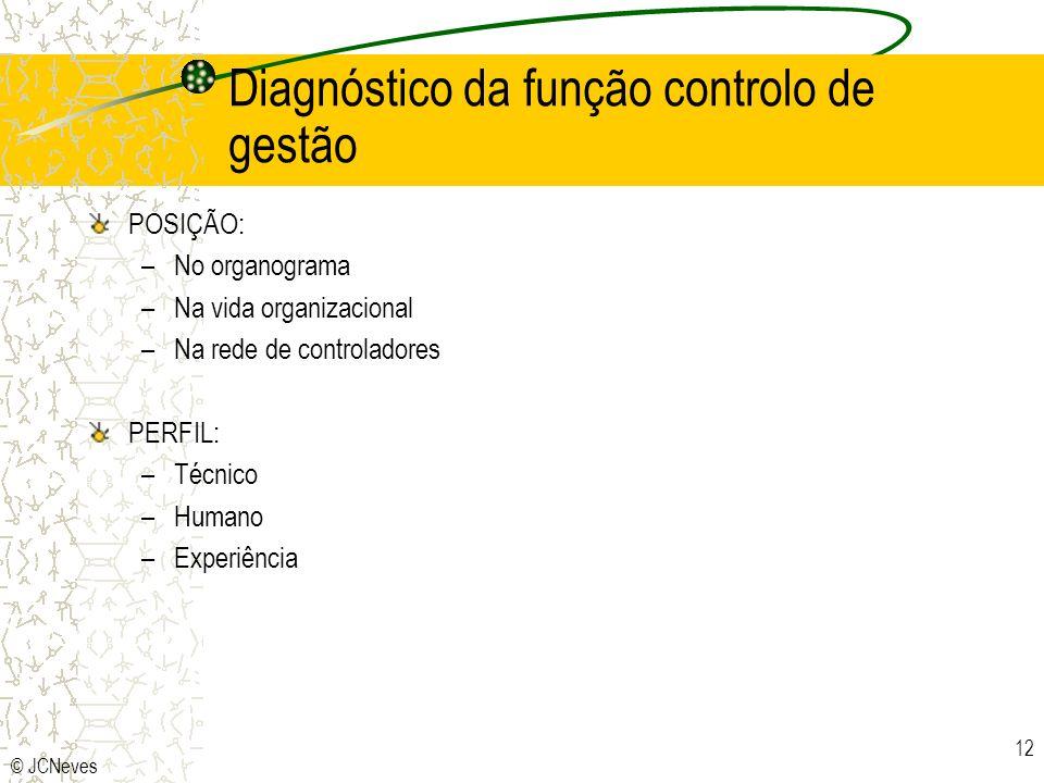 © JCNeves 12 Diagnóstico da função controlo de gestão POSIÇÃO: –No organograma –Na vida organizacional –Na rede de controladores PERFIL: –Técnico –Hum