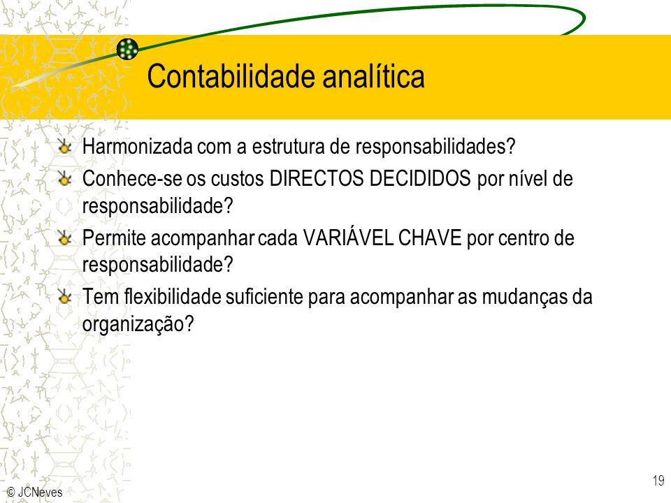 © JCNeves 19 Contabilidade analítica Harmonizada com a estrutura de responsabilidades? Conhece-se os custos DIRECTOS DECIDIDOS por nível de responsabi