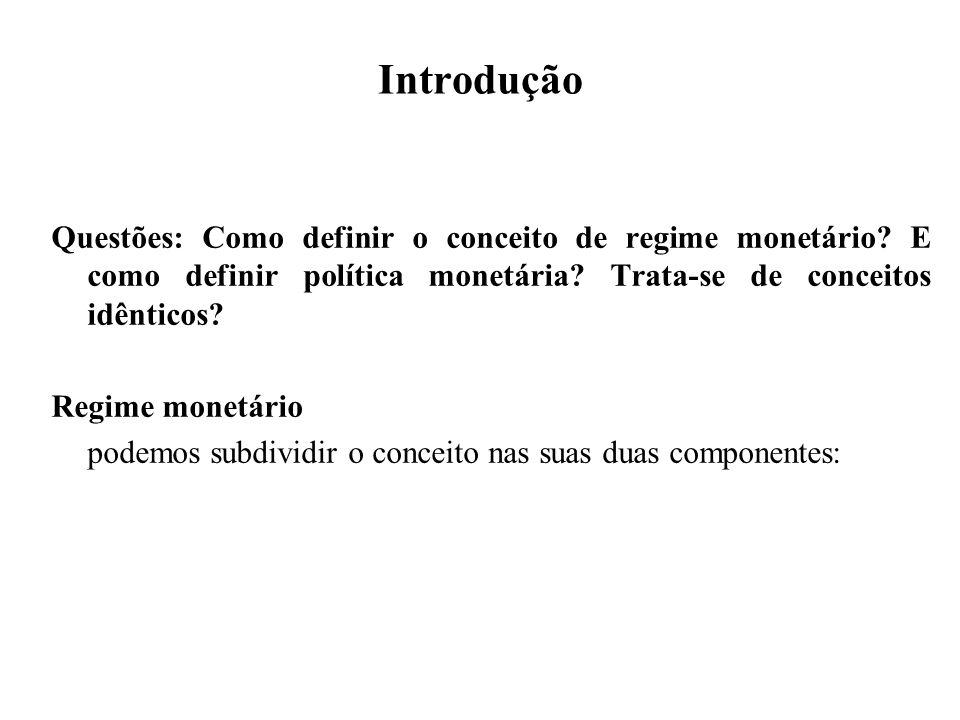 Introdução Questões: Como definir o conceito de regime monetário? E como definir política monetária? Trata-se de conceitos idênticos? Regime monetário