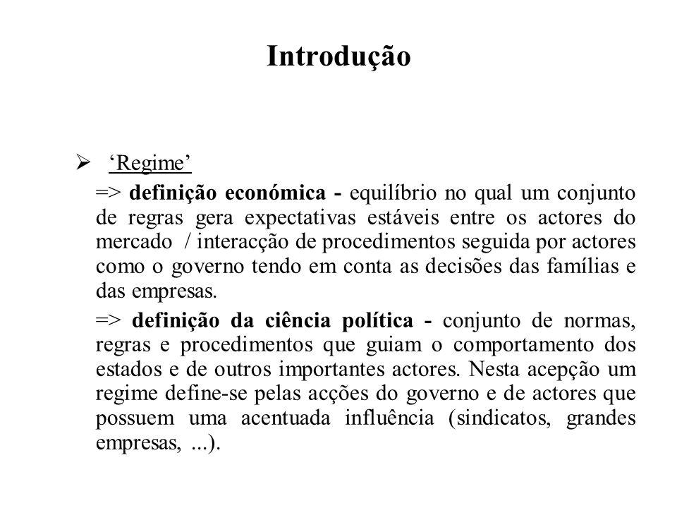 Introdução Regime => definição económica - equilíbrio no qual um conjunto de regras gera expectativas estáveis entre os actores do mercado / interacçã