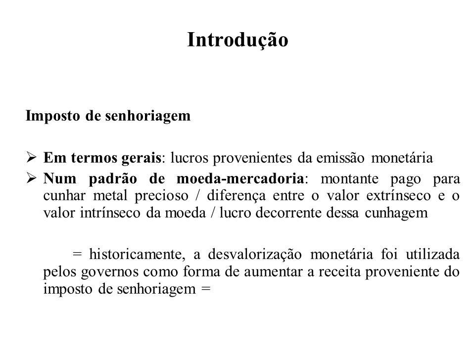 Introdução Imposto de senhoriagem Em termos gerais: lucros provenientes da emissão monetária Num padrão de moeda-mercadoria: montante pago para cunhar