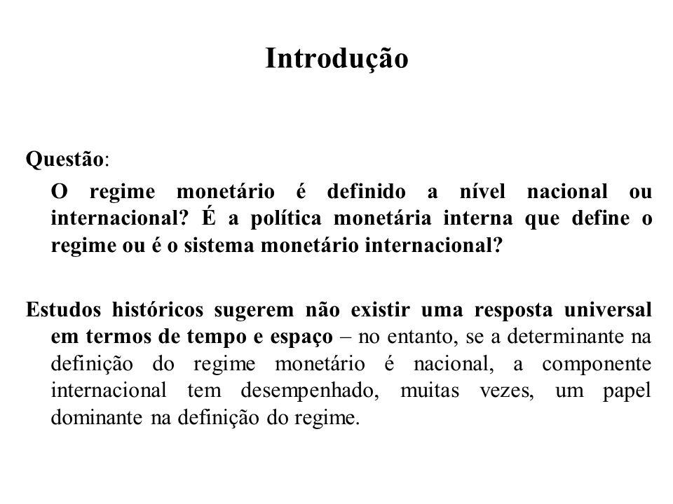 Introdução Questão: O regime monetário é definido a nível nacional ou internacional? É a política monetária interna que define o regime ou é o sistema