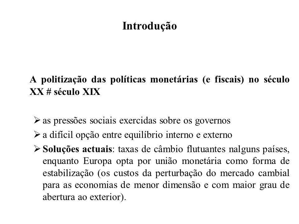 Introdução A politização das políticas monetárias (e fiscais) no século XX # século XIX as pressões sociais exercidas sobre os governos a difícil opçã