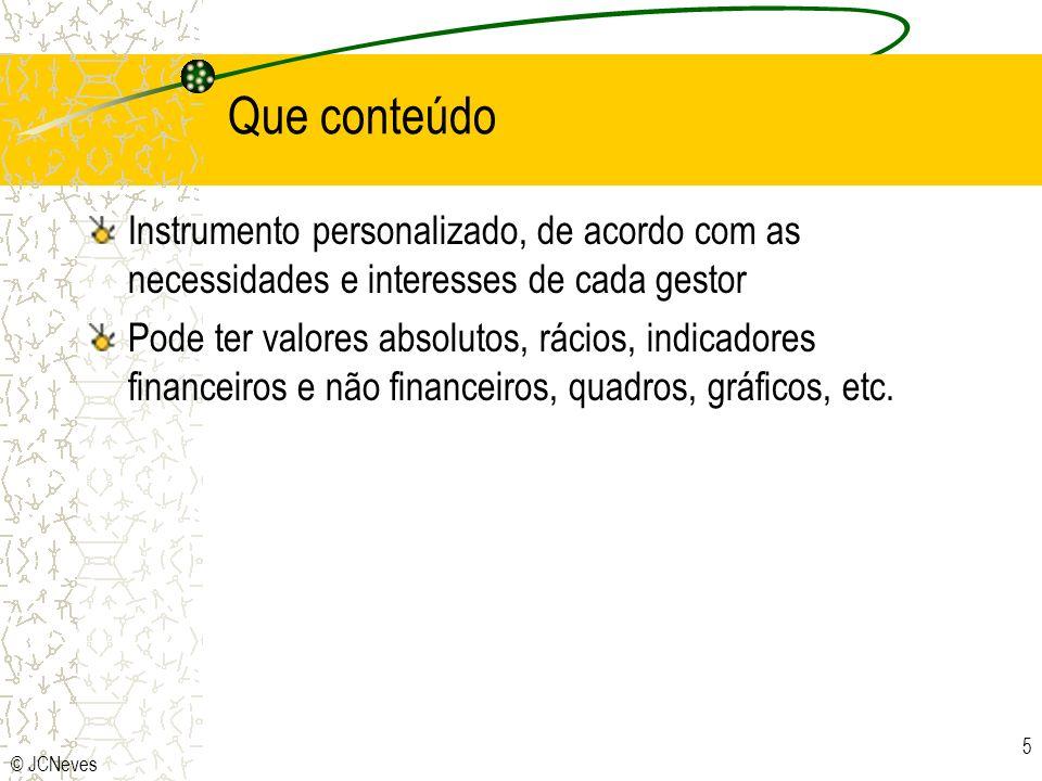 © JCNeves 6 ELEMENTOS DE COMPARAÇÃO BASEADA NOS CENTROS DE RESPONSABILIDADE EVIDENCIA DESVIOS GESTÃO POR EXCEPÇÃO DEPENDE DO ORÇAMENTO DEPENDE DA CONTABILIDADE LINGUAGEM DIVERSIFICADA FONTE DE INFORMAÇÃO RAPIDEZ DE ELABORAÇÃO FLEXIBILIDADE NO TEMPO RELAÇÃO COM OS OBJECTIVOS E MEIOS GRAU DE SÍNTESE GRAU DE APLICABILIDADE T.B.