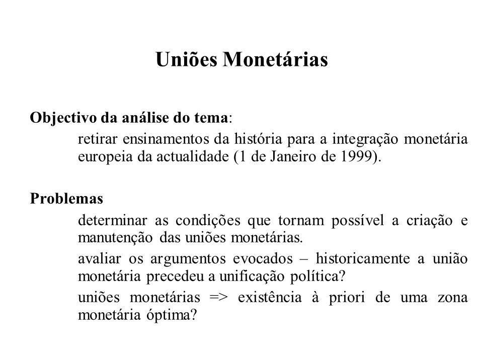 Uniões Monetárias Objectivo da análise do tema: retirar ensinamentos da história para a integração monetária europeia da actualidade (1 de Janeiro de 1999).