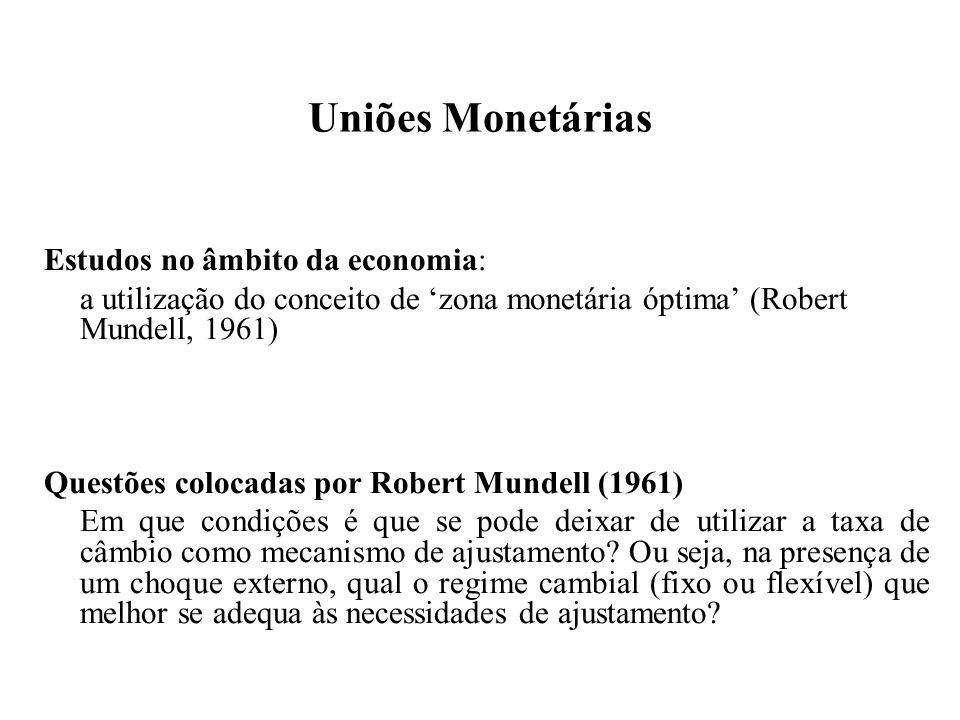 Uniões Monetárias Estudos no âmbito da economia: a utilização do conceito de zona monetária óptima (Robert Mundell, 1961) Questões colocadas por Robert Mundell (1961) Em que condições é que se pode deixar de utilizar a taxa de câmbio como mecanismo de ajustamento.