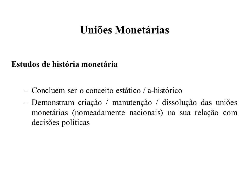 Uniões Monetárias Estudos de história monetária –Concluem ser o conceito estático / a-histórico –Demonstram criação / manutenção / dissolução das uniões monetárias (nomeadamente nacionais) na sua relação com decisões políticas